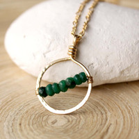 Gold filled Emerald necklace, May birthstone necklace, Small charm necklace, Layering, Fashion trends, Prom, Graduation, Emerald and gold
