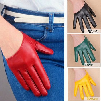 New Female Gloves PU Leather Prom Party Gloves Womens Half Finger Leather Mittens Fingerless Gloves For Woman 19 Color Black Red