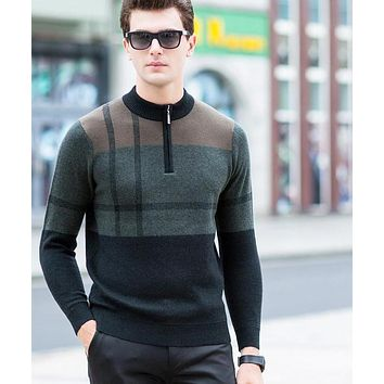 New Fashion Merino Wool Men's Sweater Casual Pullover Long Sleeve Knitwear Sweater Winter Pullover for Men