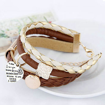 Unique Women's Brown Faux Leather Gold Metal Heart Bracelet Charm Lady Rope Jewelry NW