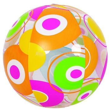"20"" Colorful 6-Panel Circle Print Inflatable Beach Ball Swimming Pool Toy"