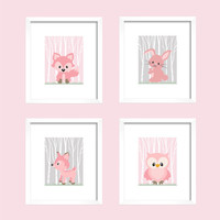 Woodland Animals, CUSTOMIZE YOUR COLORS, 8x10 Prints, set of 4, Pink and Gray Owl Fox Bunny Nursery Decor Print Kids Art Baby Room Baby Girl