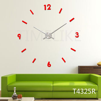 Wedding Decoration 3D Wall Sticker Clock DIY Large Clock Hands Red Color Metal Wall Clock Quartz Mechanism