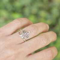 Lotus Om Ring, Adjustable Sterling Silver Ring