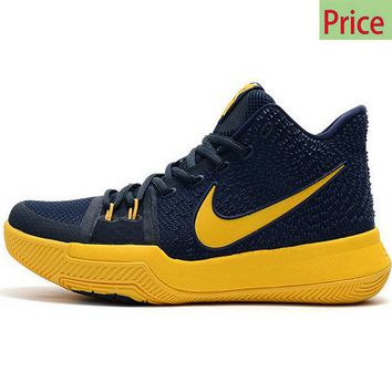 white casual shoes Kyrie Irving Shoes 3 2017 Cavs Cleveland Cavaliers Midnight Navy Gold sneaker