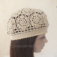 Irish Lace Crochet Motifs Women Ladies girls Vintage Style Cloche Rasta Snood Tam Beach Cotton Beret Hat Ivory Spring Summer Fashion