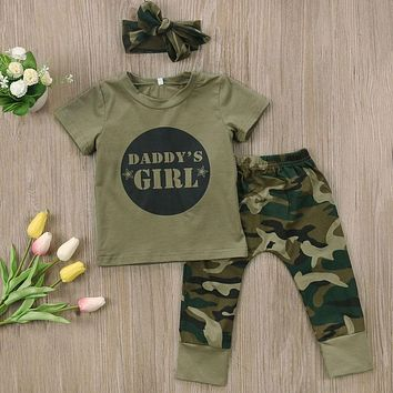 3 Pcs Daddy's Girl or Daddy's Boy Camo Outfit Sets