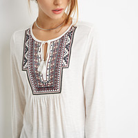Embroidered Slub Knit Top