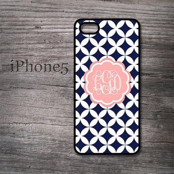 Diamond iPhone 5 case pink coral monogram personalized i phone 5 cover