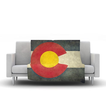 """Bruce Stanfield """"State Flag of Colorado"""" Black Red Fleece Throw Blanket"""