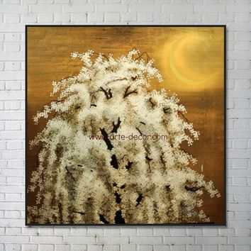 The White Tree In Moonlight Canvas Art Painting