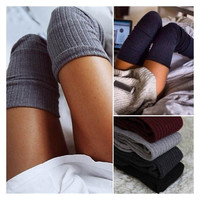 4 Color Women Sexy Stockings Warm Thigh High Over Knee Socks Wild Stretching Cotton Girl Stocking Sock Leggings