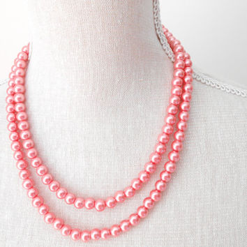 Peach pearl necklace, Peach jewelry necklace, Beaded jewelry necklace, For wedding, bridesmaid, birthday gift, teacher gift, mother day