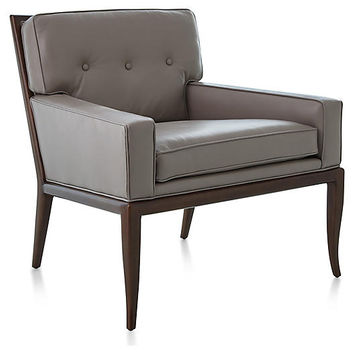 Wilson Accent Chair, Gray Leather - Accent Chairs - Chairs - Living Room - Furniture | One Kings Lane