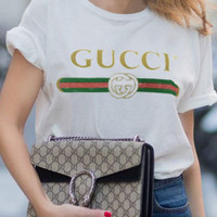 Women's Fashion Print GUCCI Round-neck Short Sleeve Summer T-shirts [11357513487]