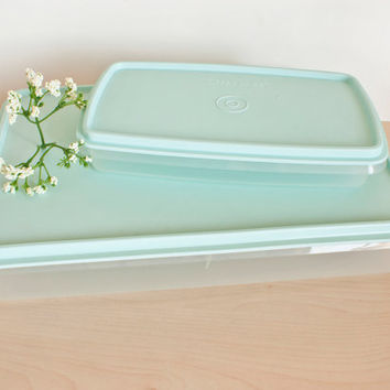 Vintage Tupperware Cold Cut Keeper, Snack n Stor Storage Containers, Robins Egg Blue Rectangular Containers, Set