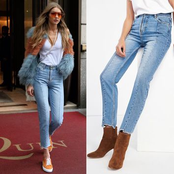"""Straight Cut"" High Waisted Jeans"