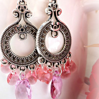 Pink Swarovski crystal and silver chandelier dangle earrings.