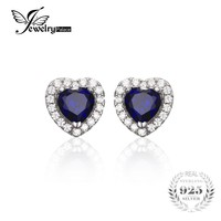 JewelryPalace Heart Of The Ocean 1.2ct Created Blue Sapphire 925 Sterling Silver Stud Earrings Fine Jewelry for Women