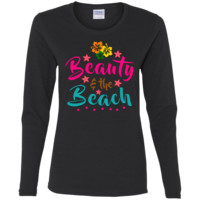 Beauty And The Beach Ladies' Cotton LS T-Shirt