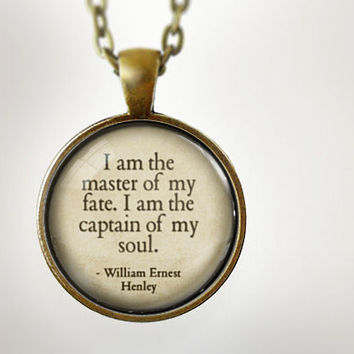 Invictus Quote : Glass Dome Necklace by HomeStudio. Round art photo pendant jewelry. or Key Ring Keychain Gift Present
