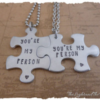 Hand Stamped Relationship - You're my person - Puzzle Necklace - Matching Set - his her - his his - her her - gift for her - gift for him