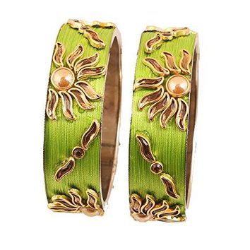 Touchstone Silk Thread Bangle Collection Hand Woven Parrot Green Silk Thread Kundan Look Faux Pearls Indian Bollywood Jewelry Metal Kadas Bangle Bracelets in Antique Gold Tone For Women Set of 2