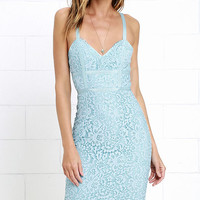Sweet Blossom Light Blue Lace Midi Dress