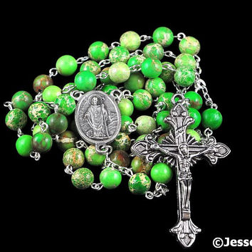Catholic Rosary Beads Green Impression Jasper Natural Stone St Patrick Center Silver Traditional Five Decade Mens Rosary Catholic Gift