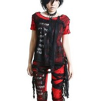 Hell Fire Red Smoked Flame Gothic Punk Rocker Tie Dye Skull Mummy Bandage Top