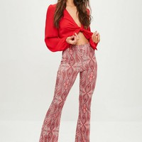 Missguided - Red Paisley Print Slinky Pants