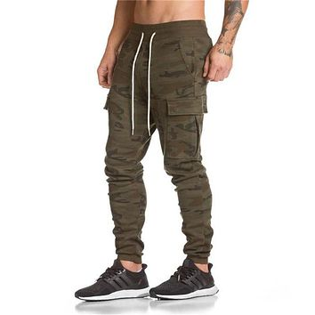 New Men Cotton Sweatpants Camouflage Pocket Style Gyms Fitness Casual Fashion Slim Trousers Male Jogger Brand Pants