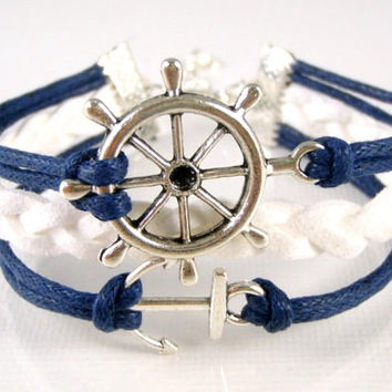 Anchor Nautical Bracelet Ships Wheel Navy Blue White Suede  Silver Charm Friendship Graduation Girlfriend Leather Wrap - Metta Jewelry