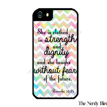 Colorful Chevron Proverbs 31:25 Bible Quote iPhone 4 or 5 Case