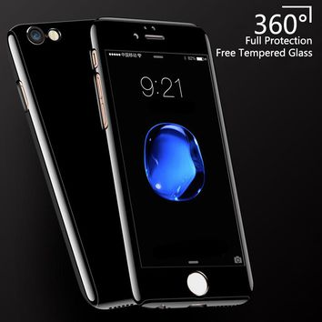 Lzcxi 360 Full Bright Black Protective Case For iPhone X 10 Case For Apple iphone 8 7 6 6S Plus 5 5S SE Hard PC Back Phone Cover