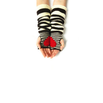 Pippi's Gave You My Heart Wrist Warmers, Crochet Fingerless Gloves, Coffee Brown, Cream Stripe, Christmas, Valentines, Gift for Her, Warm