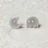 Pacman earrings in silver