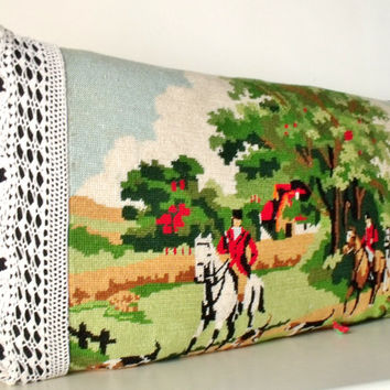 French Unique Vintage Tapestry Needlepoint Riding out Country Pillow Cushion Coussin Cover