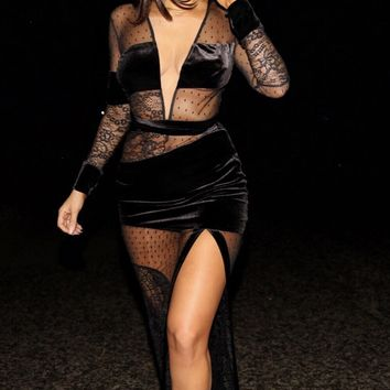 Vanessa black lace and mesh open maxi dress