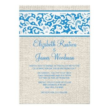Blue White Country Burlap Lace Wedding Invitations