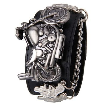 WATCH Synthetic Leather Stainless Steel Punk Rock Chain Skull Band Unisex Bracelet Cuff Gothic Wrist Watch