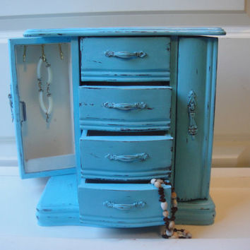 Vintage Turquoise Blue Wooden Jewelry Box Large - Shabby - Distressed - Trinket Box - Jewellry - Upcycled