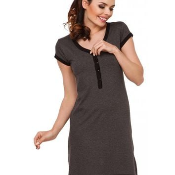 Rosy Button Front Nightgown