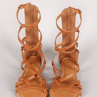 Long-2 Buckle Strappy Gladiator Flat Sandal