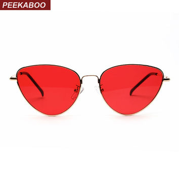 Peekaboo red cat eye sunglasses women clear lens sun glasses for women cat eye metal pink yellow uv400