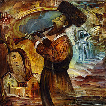 Original  Oil on Canvas Painting by Boris Shapiro Jewish Art Hasidic Playing the Flute