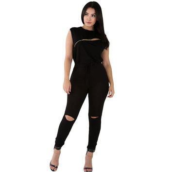 Plus Size creative zip line black stretchy jumpsuit sexy sleeveless fitted stylish big size women jumpsuit cut out knees