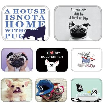Entrance Door Mats in Hallway Dog Funny Pug French Bulldog Kitchen Living Room Rug Waterproof Anti-Slip Bathroom Carpet  48228-1