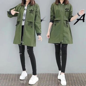 """Adidas"" Women Casual Letter Print Loose Long Sleeve Middle Long Section Windbreaker Coat"