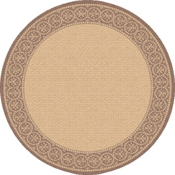 Dynamic Rugs Piazza Brown Medallion/Damask Round Area Rug